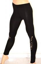 LEGGINGS PANTALONE donna NERO ricamato strass skinny cotone elastico aderente elegante party F8