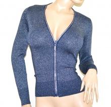 MAGLIA CARDIGAN BLU donna ragazza maglietta aperta zip strass golfino manica lunga lurex A37