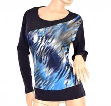 MAGLIA donna TAGLIE COMODE 48-54 maglietta BLU fantasia maniche lunghe girocollo STRASS maglione 80