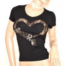 MAGLIA T-SHIRT NERA donna maglietta cotone manica corta sottogiacca pizzo E170