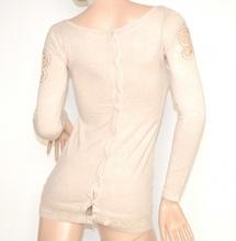 MAGLIETTA BEIGE PANNA donna maglione manica lunga maglia girocollo sottogiacca sexy pizzo strass Z25