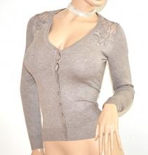 MAGLIETTA BEIGE TORTORA cardigan donna ricamata strass maglia maglione sottogiacca F115