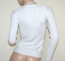 MAGLIETTA BIANCA cardigan donna maglia aperta sottogiacca pizzo ricamata strass A21
