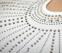 MAGLIETTA BIANCA donna manica lunga maglia sottogiacca maglione strass elegante A5