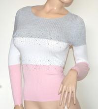 MAGLIETTA donna bianca rosa grigio maglia manica lunga sottogiacca strass G20