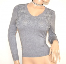 MAGLIETTA donna GRIGIO maglia manica lunga strass sottogiacca ricamata maglione F90