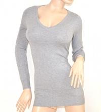 MAGLIETTA donna GRIGIO maglia MAXI PULL maniche lunghe maglioncino sottogiacca scollatura a V tinta unita E30