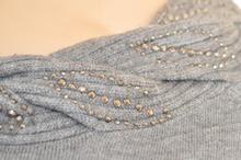 MAGLIETTA donna GRIGIO manica lunga maglia girocollo maglione sottogiacca chiodini strass  Z15