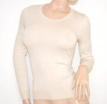 MAGLIETTA donna maglia BEIGE maglioncino manica lunga girocollo sottogiacca tinta unita Z50