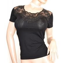 MAGLIETTA NERA donna maglia t-shirt manica corta cotone pizzo ricamo strass G40