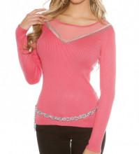 MAGLIETTA ROSA CORALLO donna maglia velata manica lunga frangia maglione sottogiacca AZ6