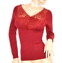 MAGLIETTA ROSSA donna maglia manica lunga maglione sottogiacca pizzo ricamo F110