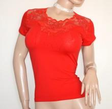 MAGLIETTA ROSSA donna maglia t-shirt manica corta cotone pizzo ricamo strass G40
