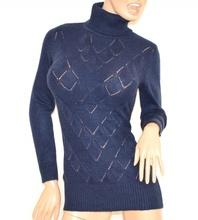 MAGLIONE donna MAXI PULL BLU collo alto dolcevita manica lunga lana maglietta H1