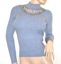 MAGLIONE GRIGIO donna maglietta lupetto manica lunga sottogiacca velo strass G8