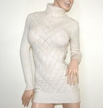 MAGLIONE LUNGO BEIGE AVORIO donna maxi pull collo alto maglietta maglia manica lunga G5