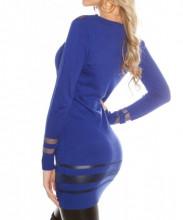 MAXI PULL BLU donna maglietta maglione manica lunga velata maglia girocollo sottogiacca AZ3