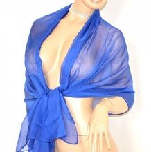 MAXI STOLA donna BLU foulard seta velata coprispalle elegante da cerimonia abiti da sera sposa H5
