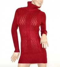 MINI ABITO MAXI PULL R0SSO donna vestito collo alto dolcevita manica lunga G10