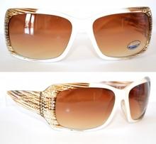 OCCHIALI DA SOLE BIANCHI donna sfumature marroni lenti ovali brillantini sexy argento strass темные очки 25