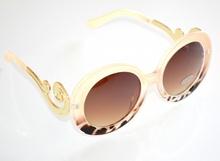 OCCHIALI da SOLE donna lenti tonde beige maculate leopardate marrone aste oro A4