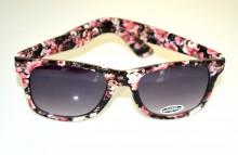 OCCHIALI da SOLE donna NERI fiori rosa fantasia multicolore lenti ovali BB4