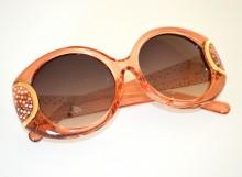 OCCHIALI da SOLE donna ROSA CORALLO ORO aste strass brillantini lenti ovali BB18