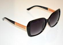 OCCHIALI da SOLE NERI donna aste ORO dorate STRASS lenti ovali brillantini sunglasses BB50