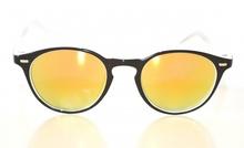 Occhiali da sole NERI uomo lenti tonde gialle a specchio sunglasses Z2