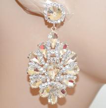 ORECCHINI A CLIPS donna ARGENTO cristalli strass goccia trasparenti sposa cerimonia N24