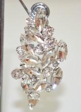 ORECCHINI A CLIPS donna ARGENTO pendenti cristalli gocce strass sposa сережки BB14