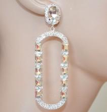 ORECCHINI ARGENTO donna cristalli pendenti ovali lunghi sposa strass BB75