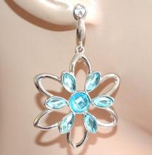 ORECCHINI argento fiore cristalli strass azzurri celesti donna pendenti A51