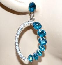 ORECCHINI argento strass donna cristalli azzurri pendenti ovali ragazza G32
