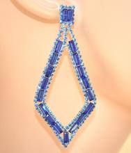 ORECCHINI BLU pendenti donna strass rombi cristalli eleganti cerimonia E150