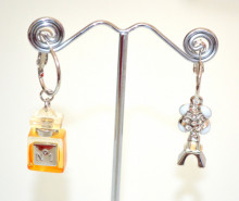 ORECCHINI cerchi donna Argento Ciondoli Profumo Torre Eiffel fiore cerchietti pendenti N72