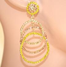 ORECCHINI CERCHI donna ORO cristalli oro rosa gialli ambra   strass cerimonia E110