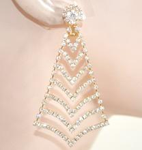 ORECCHINI CLIPS donna ORO pendenti dorati STRASS cristalli eleganti da cerimonia boucles L25