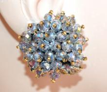 ORECCHINI CRISTALLI GRIGIO donna CLIPS bottone al lobo perline oro eleganti lobe earrings P18