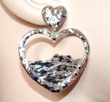 ORECCHINI CUORI donna argento pendenti lucidi ragazza regalo san valentino pendientes CC139