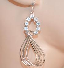 ORECCHINI donna ARGENTO cristalli pendenti ondulati moda Ohrringes CC228
