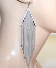 ORECCHINI donna argento eleganti fili pendenti lunghi cerimonia moda feste boucles A7