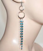 ORECCHINI donna argento strass azzurri turchesi cerchi fili pendenti CC218