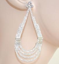 ORECCHINI donna argento STRASS cristalli eleganti pendenti ovali da sposa cerimonia Z11