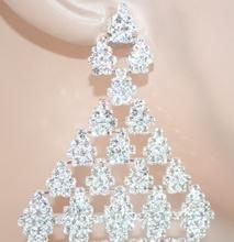 ORECCHINI donna CRISTALLI strass argento ELEGANTI sposa cerimonia boucles 1050