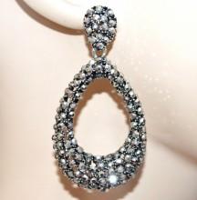 ORECCHINI donna grigio argento cerchi ovali pendenti etnici strass eleganti BB38