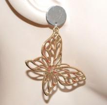 ORECCHINI donna oro argento ciondoli farfalline pendenti ragazza earrings CC124