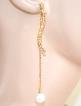 ORECCHINI donna ORO CORALLO strass fili pendenti perla  bianca cristalli bigiotteria F65X
