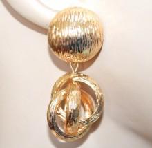 ORECCHINI donna oro dorati pendenti cerchi anelli bombati metallo lucido pendientes BB28