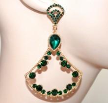 ORECCHINI donna ORO dorati pendenti lunghi cristalli verdi strass brillantini серьги CC79
